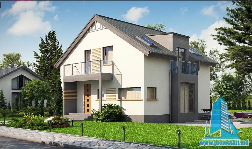 Proiect de casa cu parter si mansarda -100846