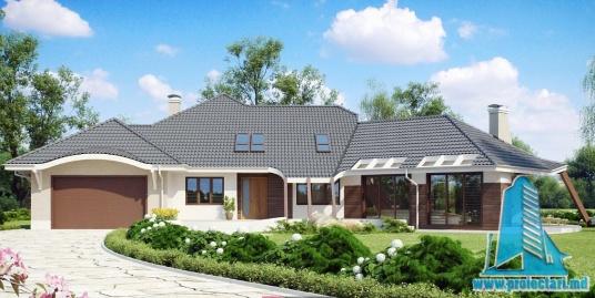 Proiect de casa cu parter, mansarda si garaj pentru doua automobile -100863