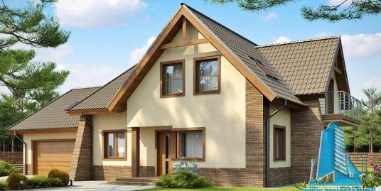Proiect de casa cu parter, mansarda si garaj pentru doua automobile-100856