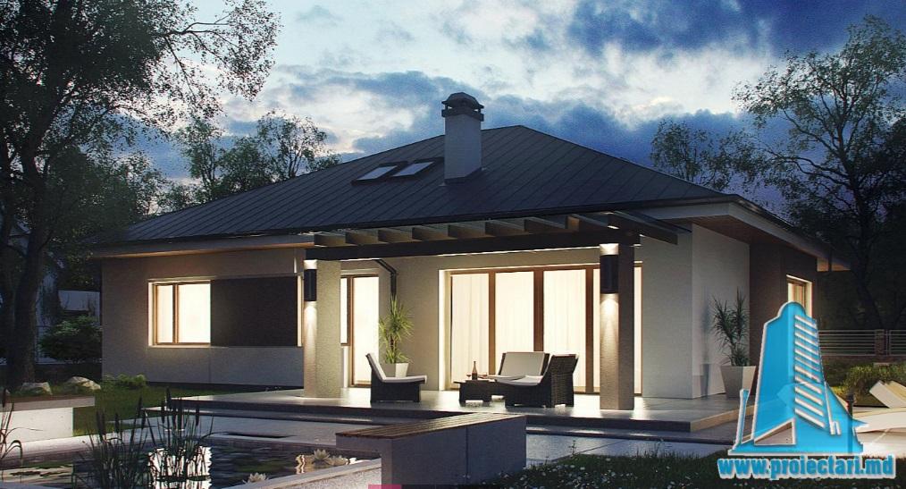 Proiect de casa cu parter, mansarda si garaj pentru doua automobile-100865