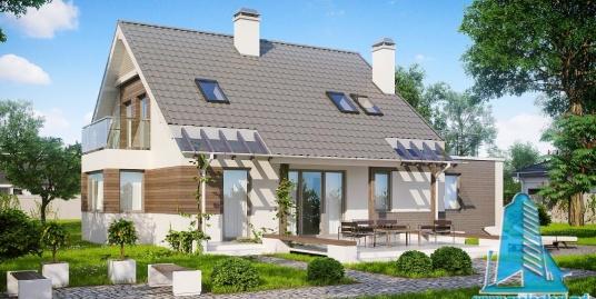 Proiect de casa cu parter, mansarda si garaj pentru un automobil-100871