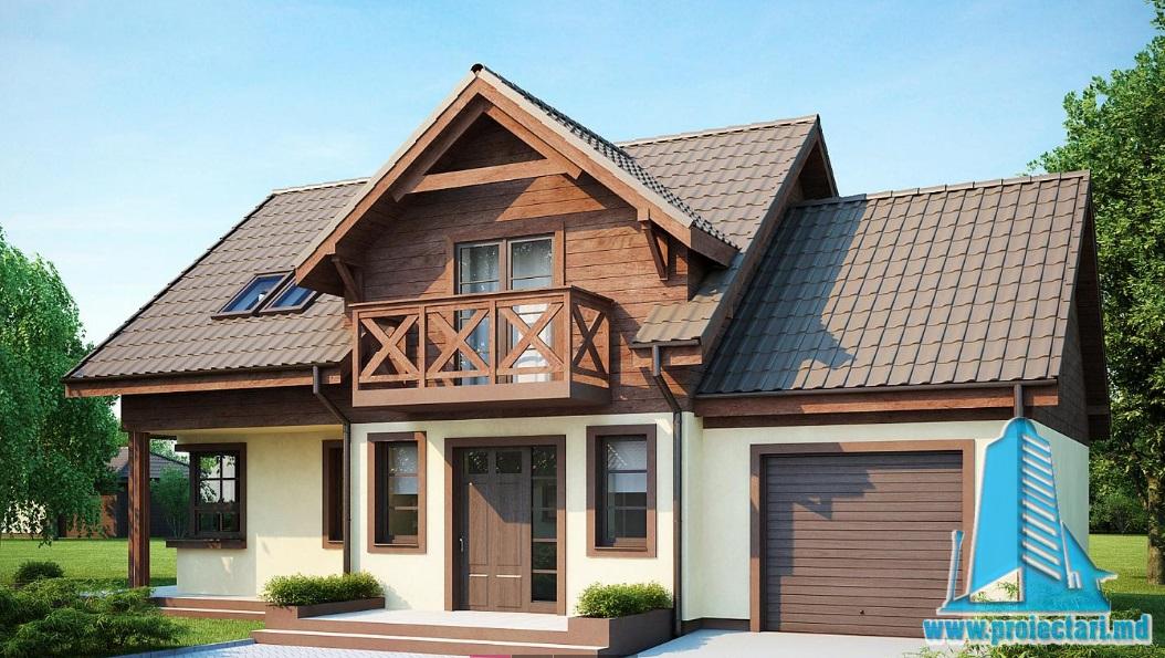 Proiect de casa cu parter, mansarda si garaj pentru un automobil-100873