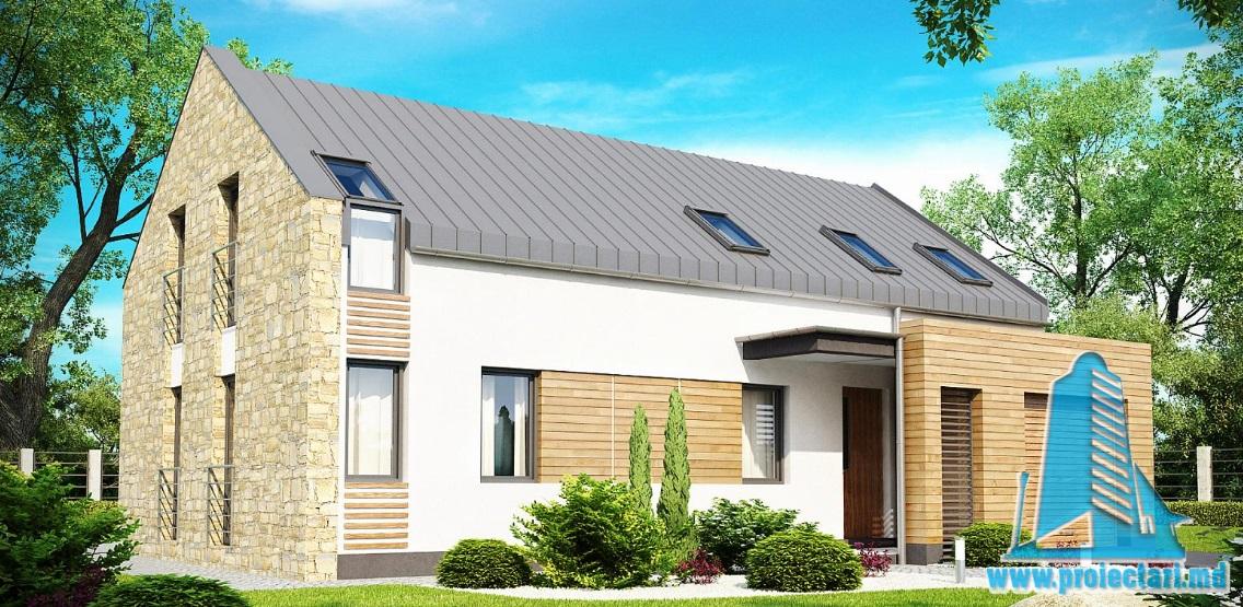 Proiect de casa cu parter, mansarda si garaj pentru un automobil-100881