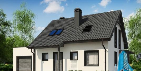 Proiect de casa cu parter, mansarda si garaj pentru un automobil-100840
