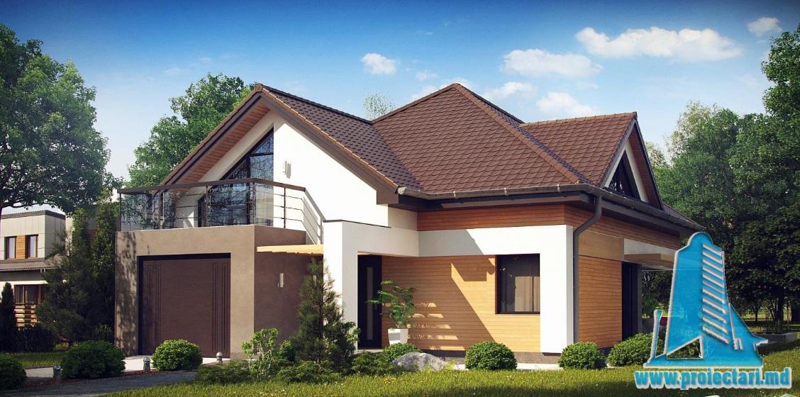 Proiect de casa cu parter, mansarda si garaj pentru un automobil-100889