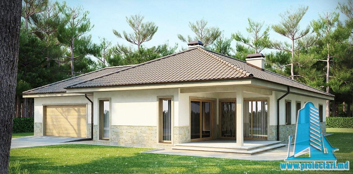 Proiect de casa cu parter si garaj pentru doua automobile-100875
