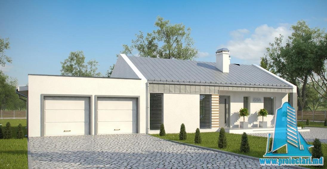 Proiect de casa cu parter si garaj pentru doua automobile-100854