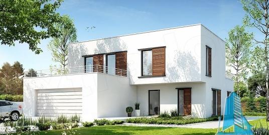 Proiect de casa cu parter si etaj cu garaj pentru doua automobile-100831