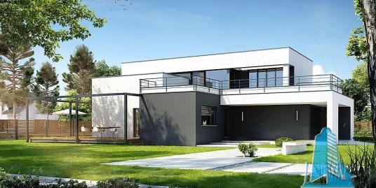 Proiect de casa moderna cu parter, etaj, garaj pentru doua automobile si terasa verde pe acoperis -100832