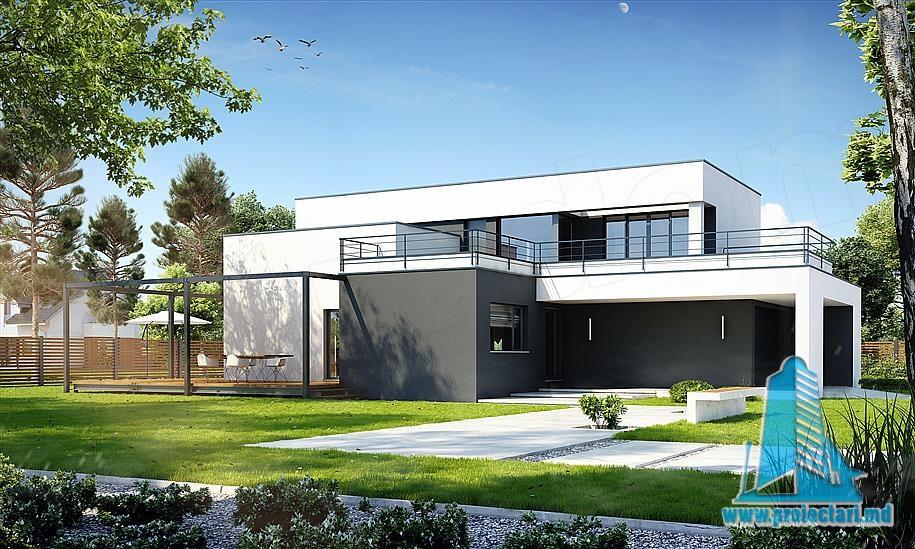 Proiect De Casa Moderna Cu Parter, Etaj, Garaj Pentru Doua Automobile Si  Terasa Verde