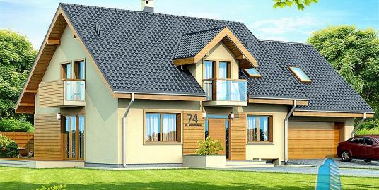 Proiect de casa cu lemn cu parter, mansarda si garaj pentru un automobil-100823