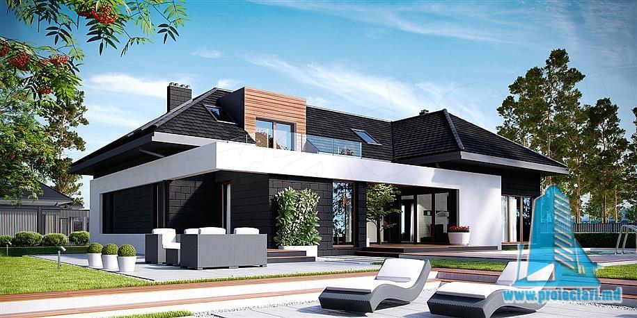 Proiect de casa cu mansarda si garaj pentru doua automobile-100825