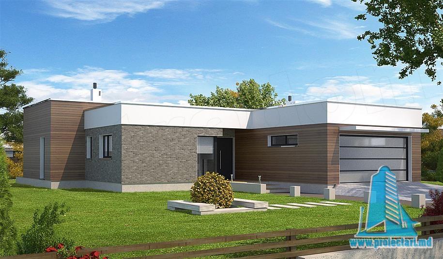 Proiect de casa cu parter si garaj pentru doua automobile-100830
