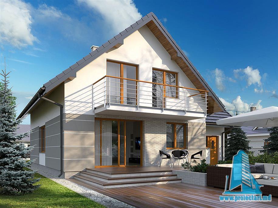 Proiect de casa cu mansarda si garaj pentru un automobil-100827