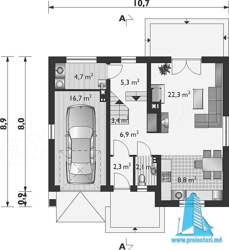 Proiect De Casa Ieftina Cu Mansarda Si Garaj Pentru Un Automobil