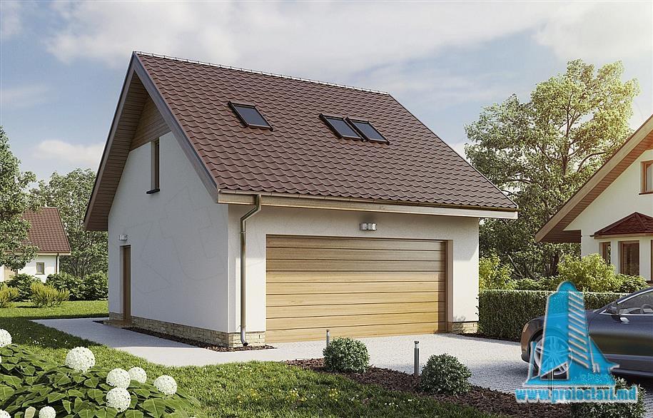 Proiect de garaj cu mansarda locativa-100829