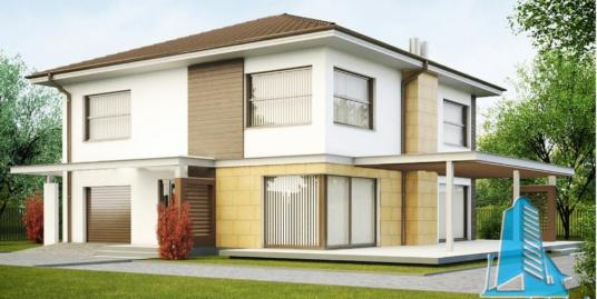 Proiect de casa cu parter, etaj si garaj pentru un automobil-100916