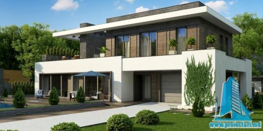 Proiect de casa cu parter, etaj si garaj pentru un automobil-100906