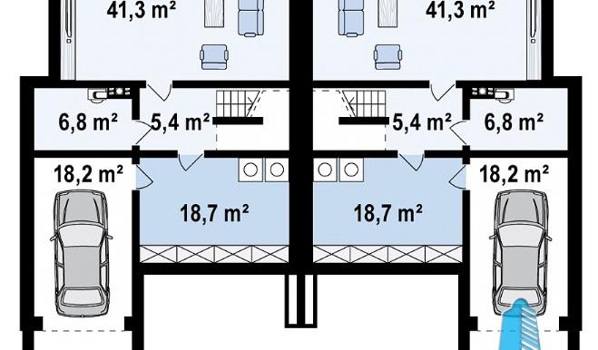 Проект двухэтажного дома с полуподвал и гаражом d