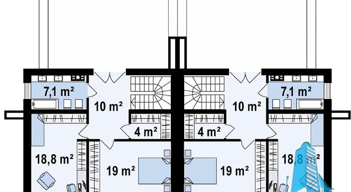Проект двухэтажного дома с полуподвал и гаражом e