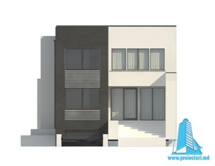 Проект двухэтажного дома с полуподвал и гаражом fatada4