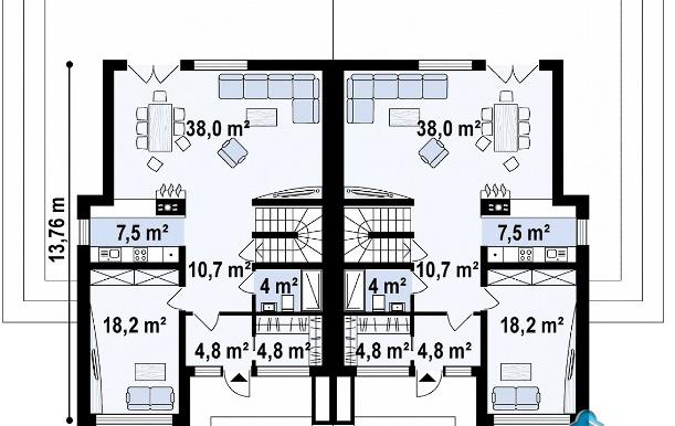 Проект двухэтажного дома с полуподвал и гаражом p