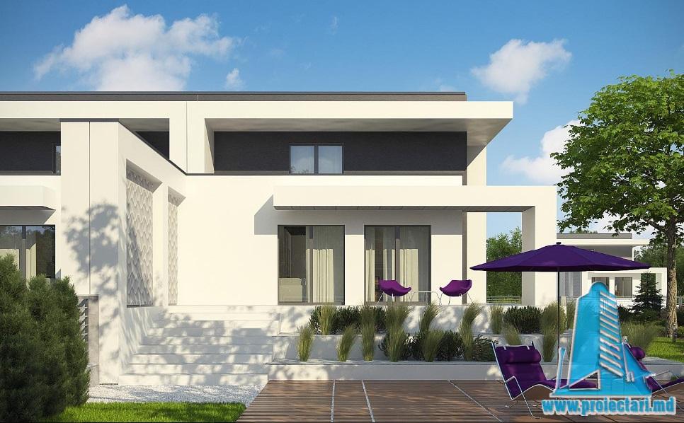 Proiect de casa duplex cu demisol, parter, etaj si garaj pentru un automobil-100928