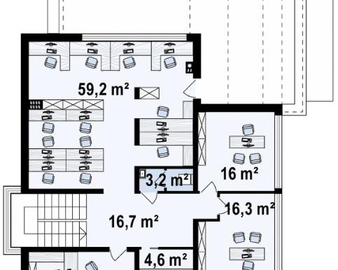Проект двухэтажного офисное здание e