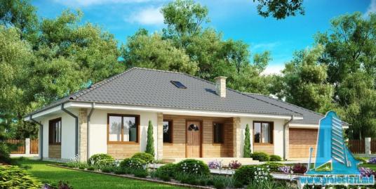 Proiect de casa cu parter, mansarda si garaj pentru doua automobile-100899