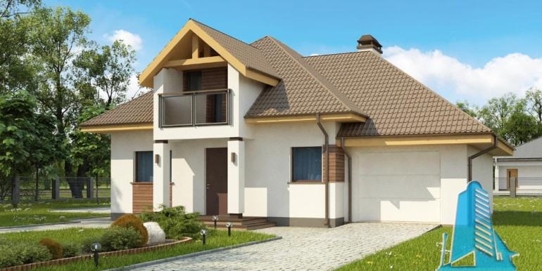 Проект дома с партером и мансардой 1