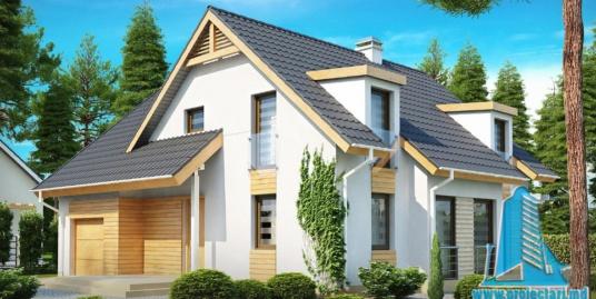Proiect de casa cu parter, mansarda si garaj pentru un automobil-100920