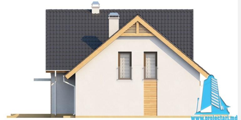 Проект дома с партером, мансардой и гаражом для одного автомобиля fatada1
