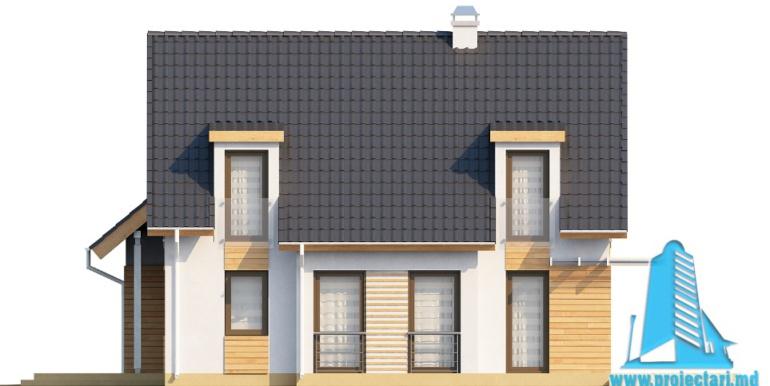 Проект дома с партером, мансардой и гаражом для одного автомобиля fatada4