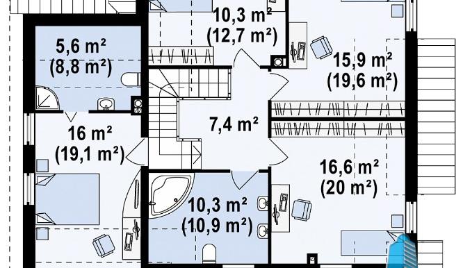 Проект дома с партером, мансардой и гаражом для одного автомобиля m