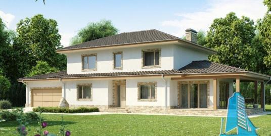 Proiect de casa cu parter, etaj si garaj pentru doua automobile-100917