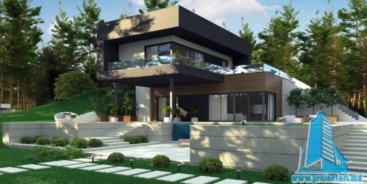 Proiect de casa cu parter, etaj si garaj pentru un automobil-100903