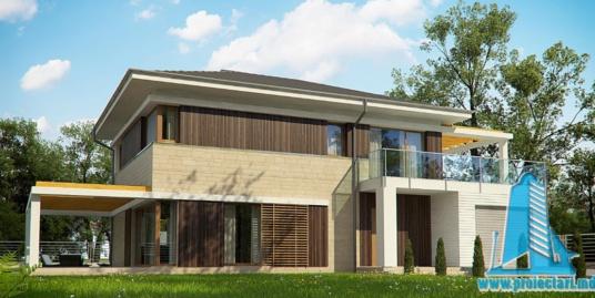 Proiect de casa cu parter, etaj si garaj pentru un automobil-100897