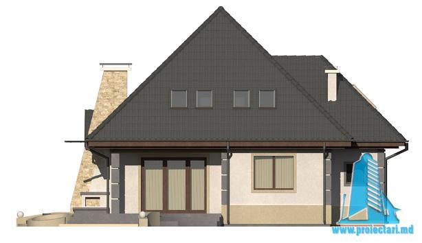 Proiect de casa cu parter, mansarda fatada2
