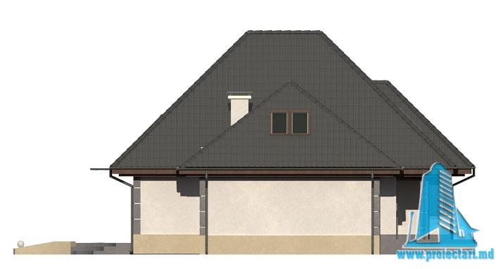 Proiect de casa cu parter, mansarda fatada4