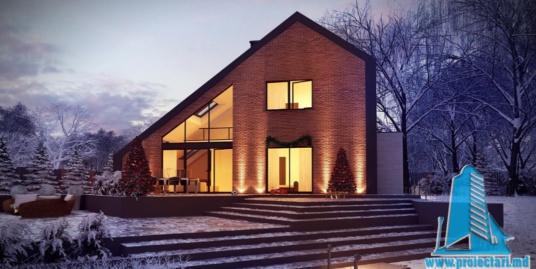 Proiect de casa cu parter, mansarda si garaj pentru un automobil-100895