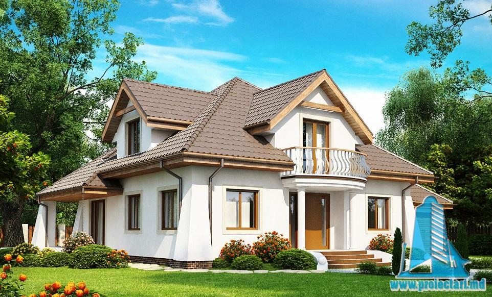 Proiect de casa cu parter, mansarda si garaj pentru un automobil-100919