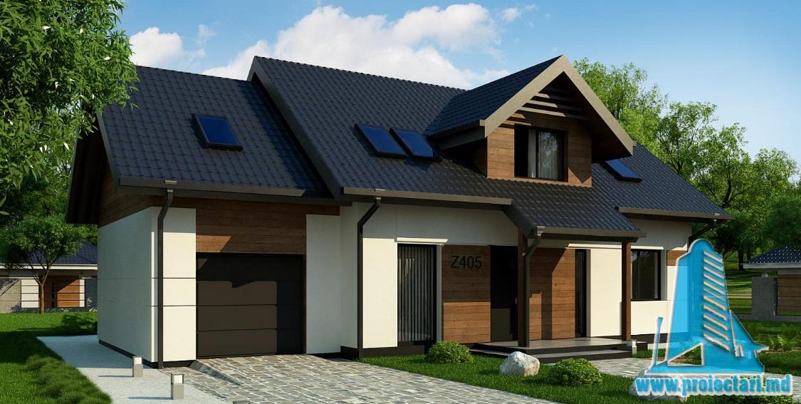 Проект дома с партером, мансардой и гаражом для одного автомобиля-100901