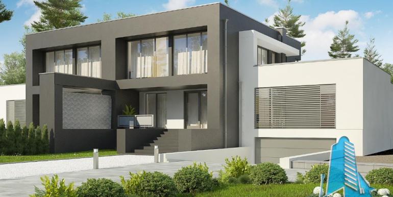 Proiect de casa duplex cu demisol, parter, etaj si garaj 1