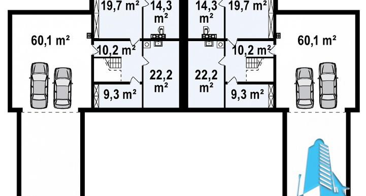 Proiect de casa duplex cu demisol, parter, etaj si garaj d