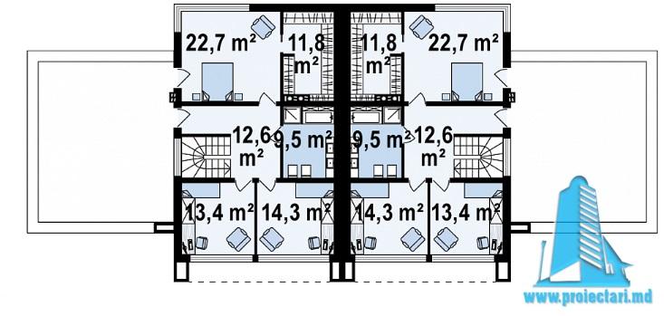 Proiect de casa duplex cu demisol, parter, etaj si garaj e