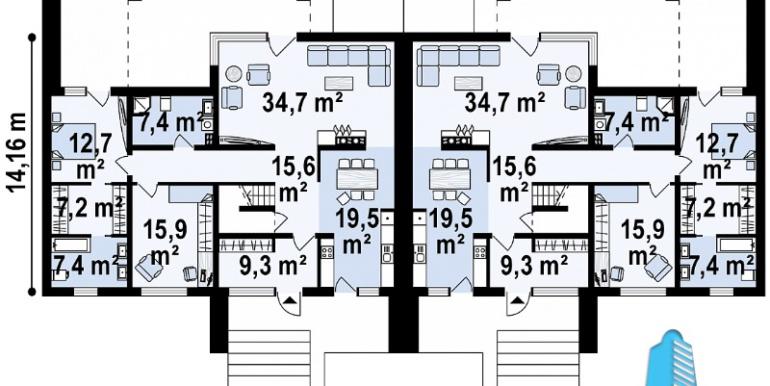 Proiect de casa duplex cu demisol, parter, etaj si garaj p