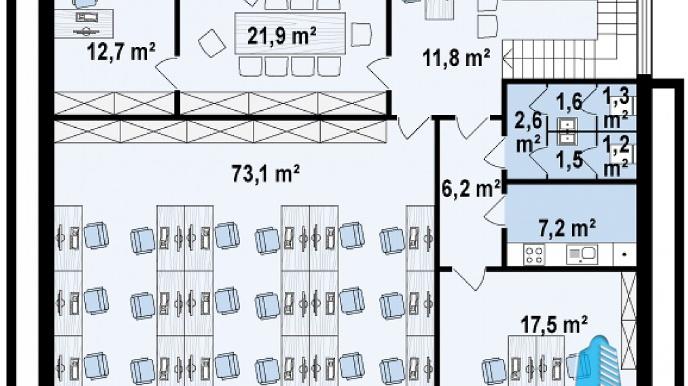 Proiect de cladire pentru oficii cu parter, etaj e