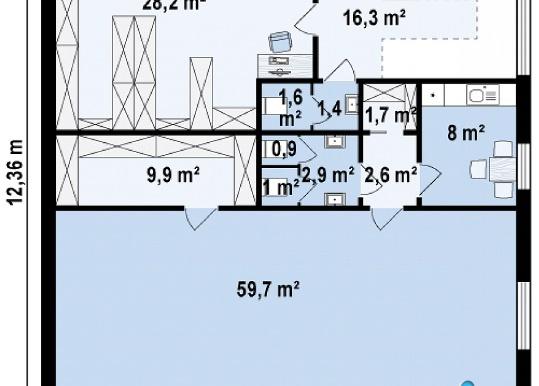 Proiect de cladire pentru oficii cu, parter, etaj p