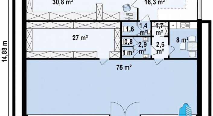 Proiect de cladire pentru oficii cu parter, etaj p