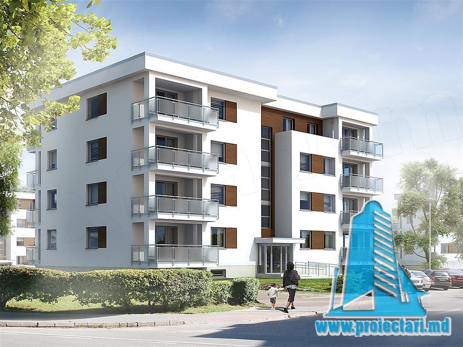 Proiect bloc de locuit cu regimul de inaltime D+P+3E cu garaje si acoperis plat, verde utilizabil-100937